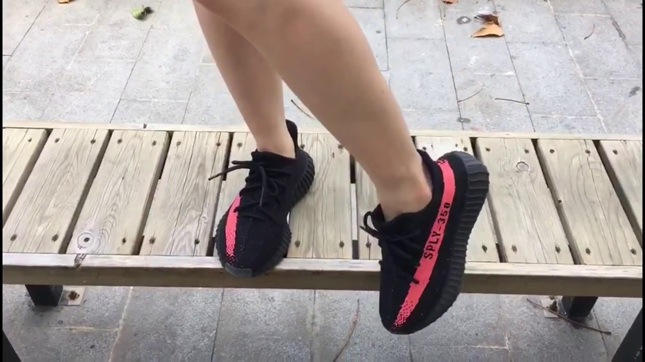 d73e362592a2 Supreme Adidas Yeezy Boost 350 V2 Black Red Red Stripe exclusive on feet  review