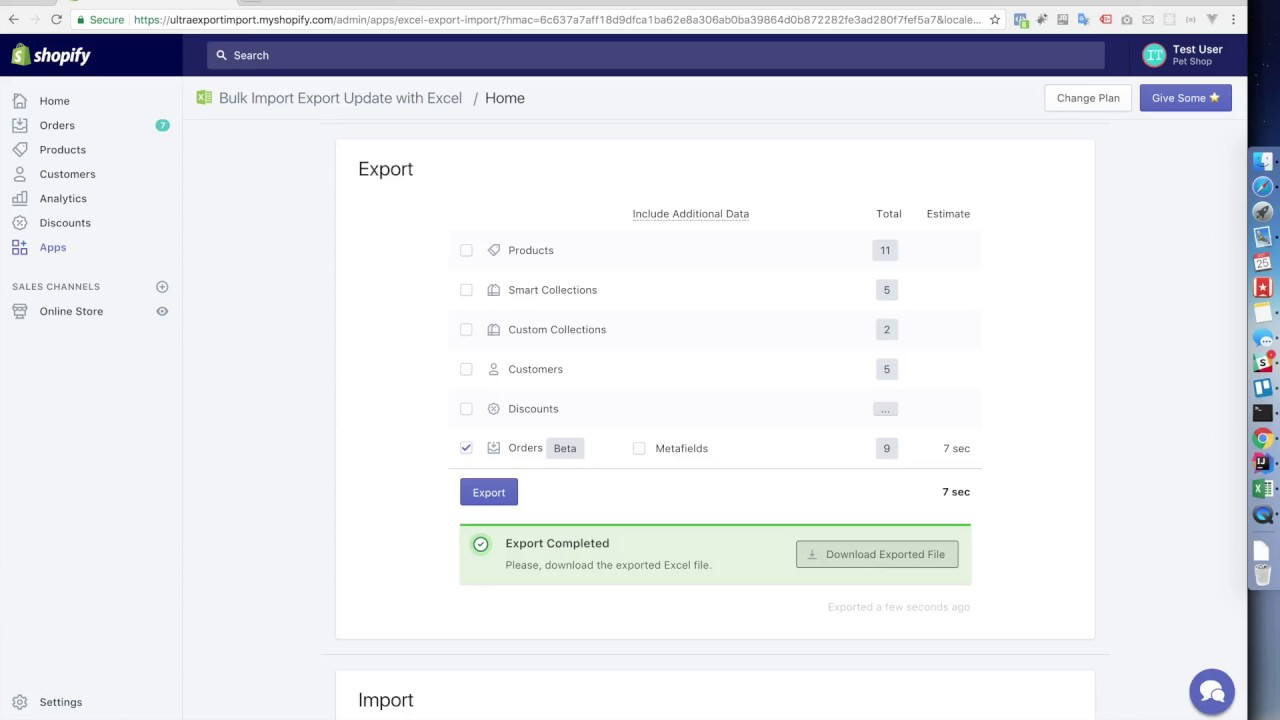 Shopify Orders Export with Bulk Import Export Update with Excel (early  version)