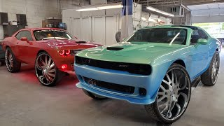 MS MONEY BAGS T-TOP CHALLENGER ON 34S AND MY PROCHARGED CHALLENGER ON 34S