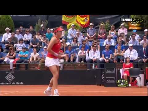 Garbine Muguruza vs Francesca Schiavone Amazing Point HD Fed Cup Spain 2016