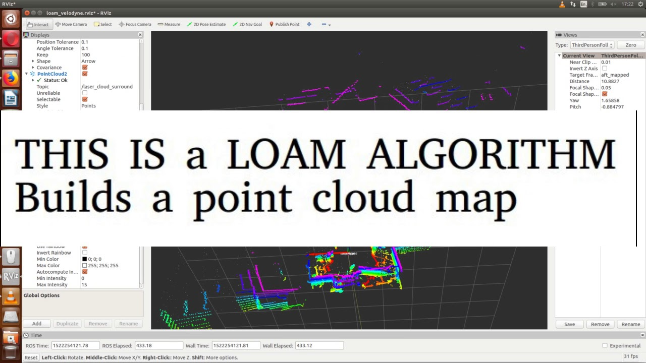 Velodyne VLP-16 raw point cloud, accumulated point cloud and Octomap