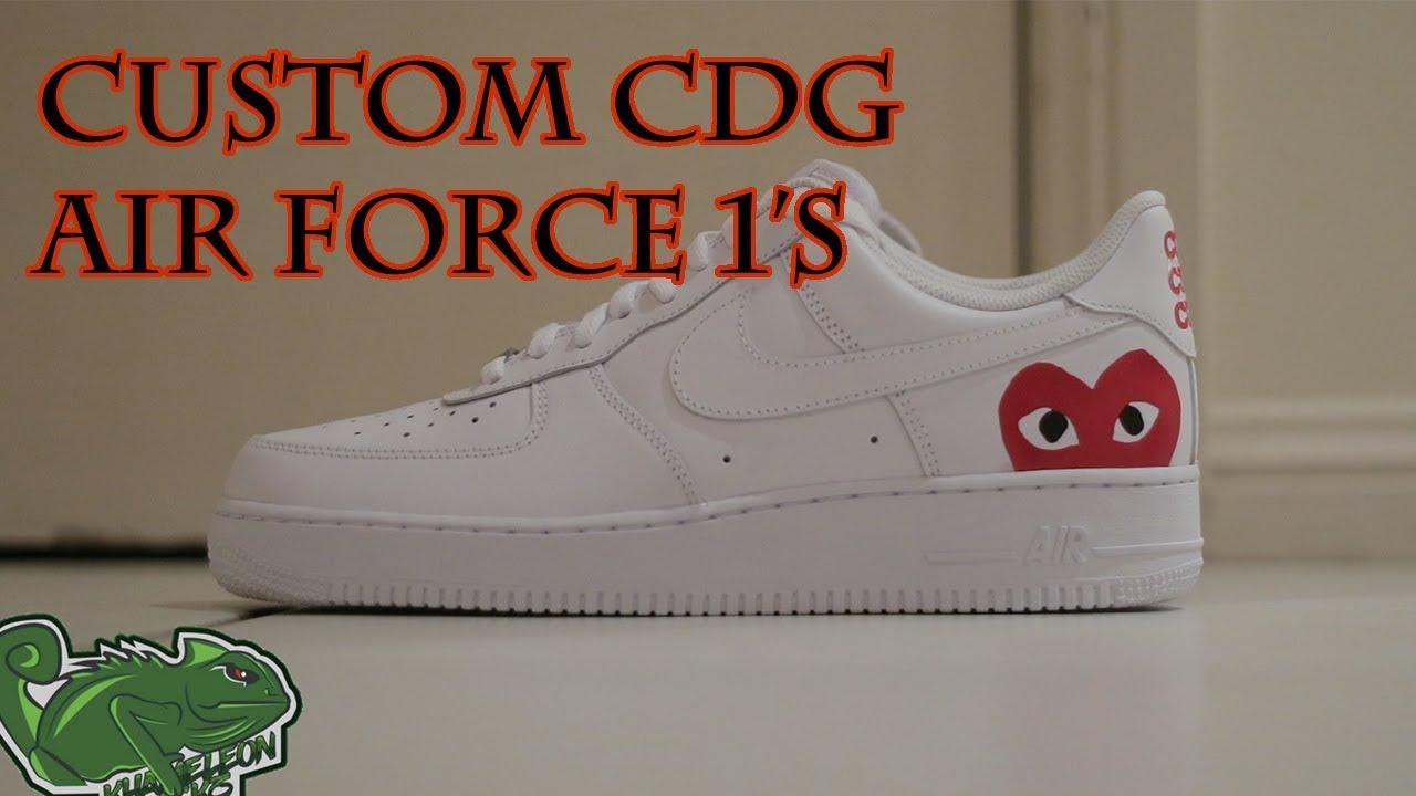 sale retailer ecb92 80111 Complete Custom   CDG Nike Air Force 1 s made by Khameleon
