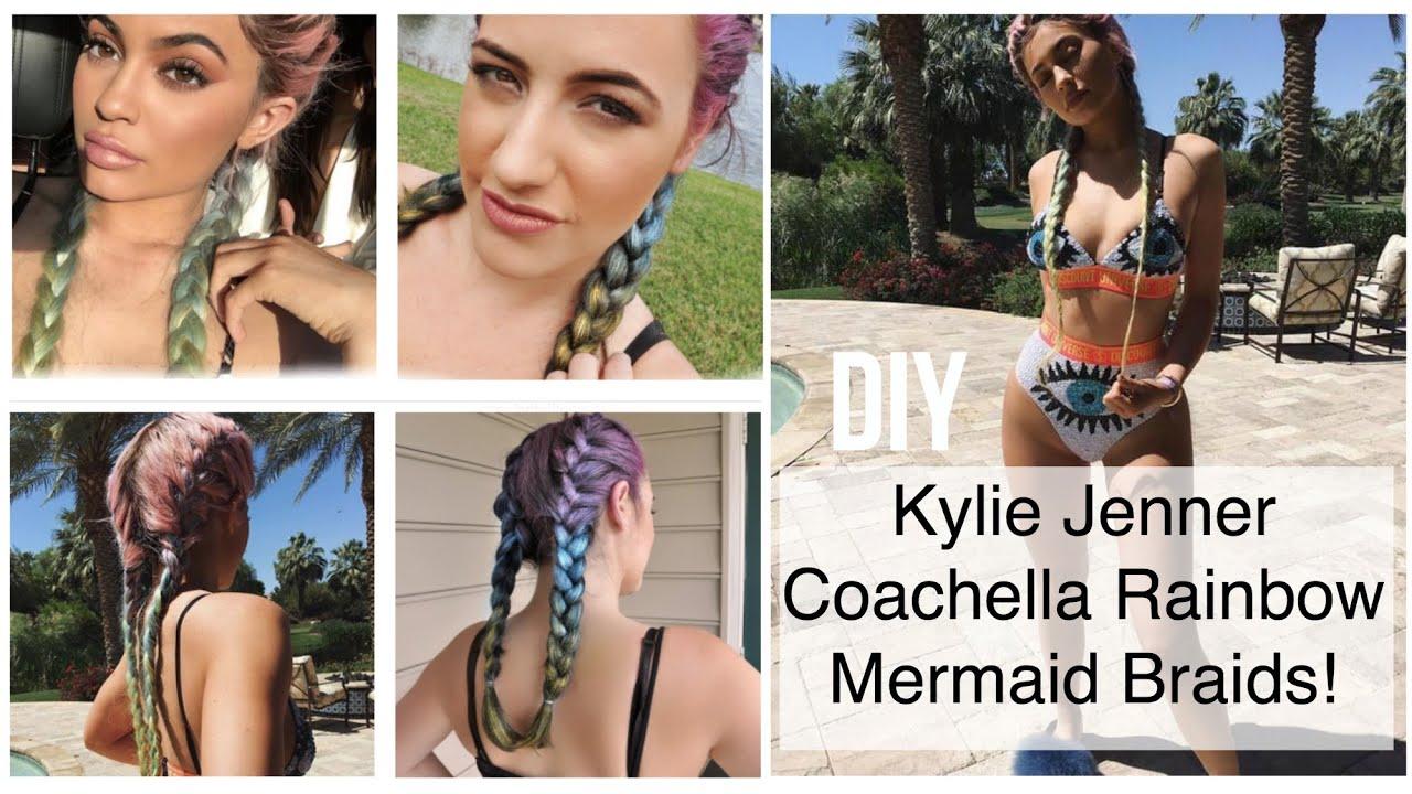 Diy Kylie Jenner Hair Coachella Rainbow Mermaid Braids + Britelites   Youtube