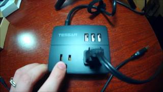 Tessan USB Port Power Strip Unboxed & Tested By MrAlanC