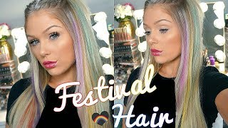 FESTIVAL HAIR TUTORIAL 2018 | RAINBOW HIGHLIGHTS WITH NO DAMAGE
