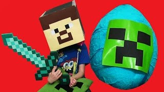 Minecraft CREEPER Surprise Egg! Toys + Kinder Surprise Lego Steve
