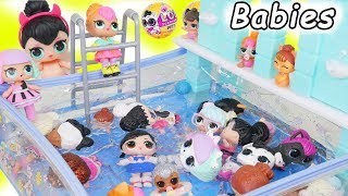 LOL Surprise Dolls + Lil Sisters visit Pool