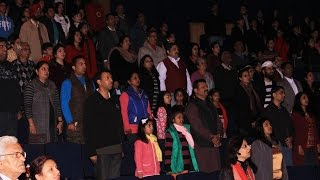Group singing of the National Anthem of India – Jana Gana Mana – by everyone