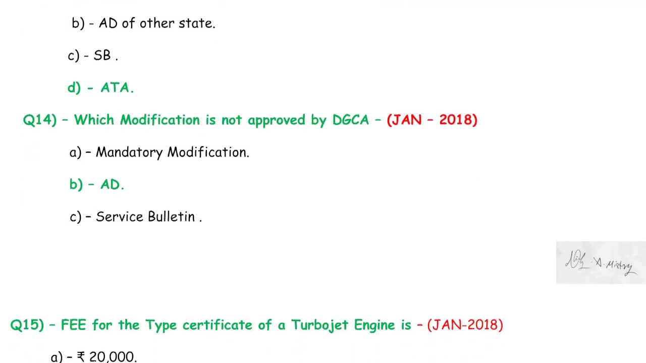 DGCA CAR 66 AME License Exam Module 10 - Aviation Legislation Question bank  Vol ii