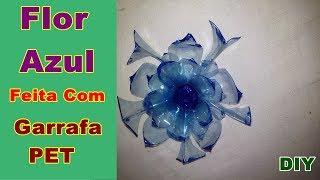 Flor Azul Feita Com Garrafa PET