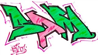 Step By Step How To Draw Graffiti Letters - Write Sam In Graffiti For Beginners