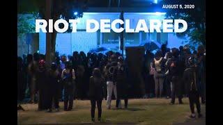Riot declared, tear gas used outside Portland Police's East Precinct