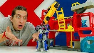 - Роботы Трансформеры Оптимус Десептикон Автоботы защищают базу