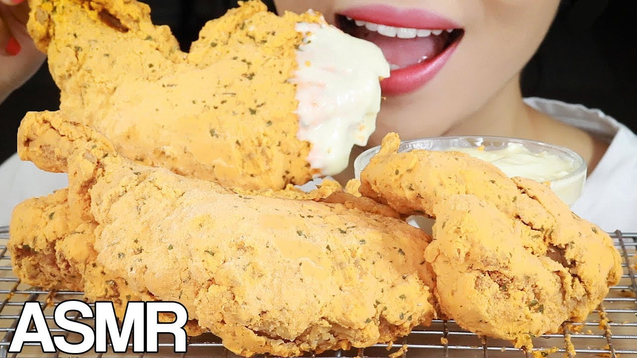 ASMR CHEESE DUSTED FRIED CHICKEN Eating Sounds Mukbang No Talking