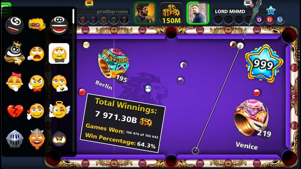 8 ball pool Level 999 😮 Total Winnings 7971.30B 👉 219 Ring Venice