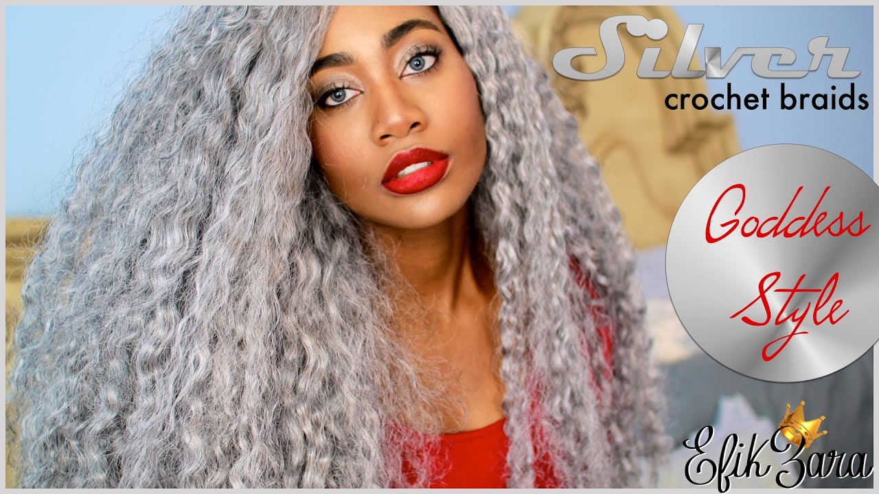 Crochet Hair Grey : SILVER/GRAY CROCHET BRAIDS on Zara Done by Edwige Kondombo - YouTube
