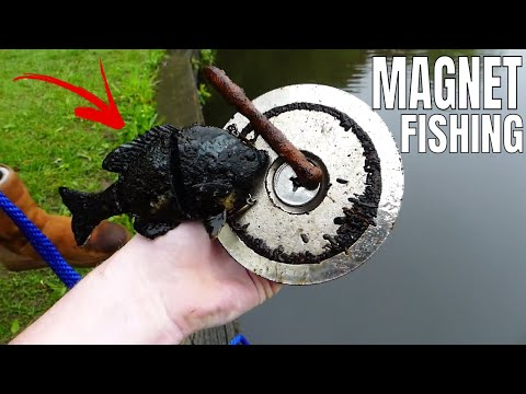CAUGHT A FISH *MAGNET FISHING* With 1,000 LB PULL MAGNET!!