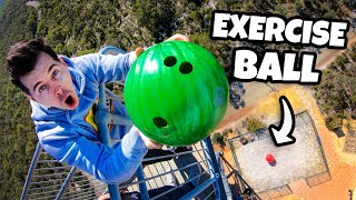 Bowling Ball Vs. GIANT 6ft Exercise Ball from 45m! (Huge Bounce)
