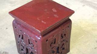 Chinese Red Ancient Pattern Clay Square Stool S2072m