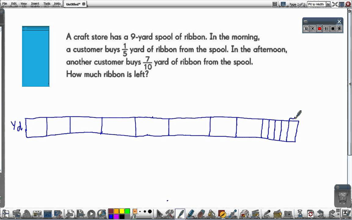 Singapore Math: A Spool of Ribbon [fractions bar model] - YouTube