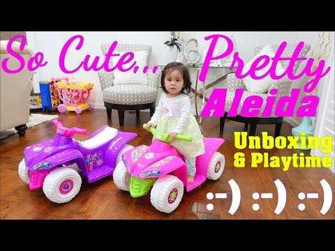 Hello Kitty and My Little Pony Battery Operated Ride-On Power Wheels Quad Bikes. Toy Unboxing
