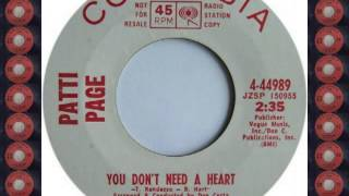 PATTI PAGE   YOU DONT NEED A HEART COLUMBIA YouTube Videos