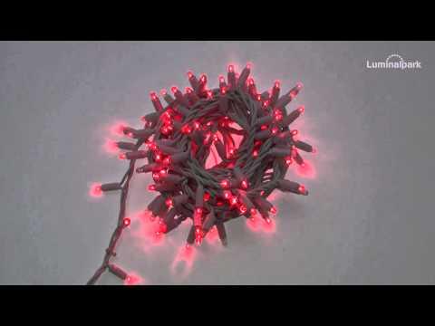 Lichterkette 10 m, 200 Maxi LEDs rot, weißes Kabel (Code 21952)
