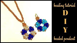 5 mins diy pendant. Beading tutorial for beginners. Beaded pendant.