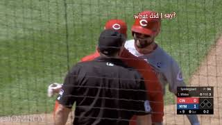 Winker gets ejected, and hits his teammate in the head with his helmet, a breakdown.