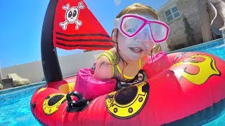 Pirate Ship Pool Party The Family Plays With Inflatable Toys And Adley Is A Mermaid