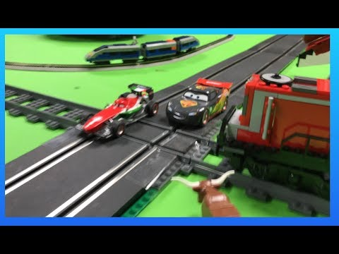 Disney Pixar Cars Lightning McQueen Carrera Go Slot Cars Carbon Racers vs LEGO Train!