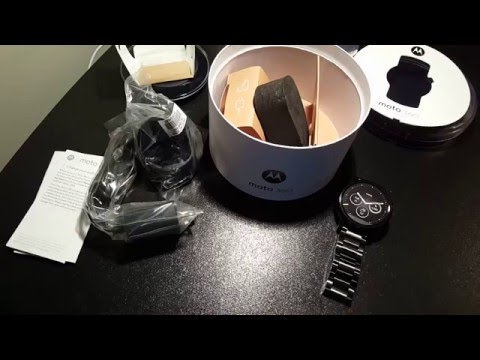 Moto 360 2nd Gen 46mm Mens Black Unboxing