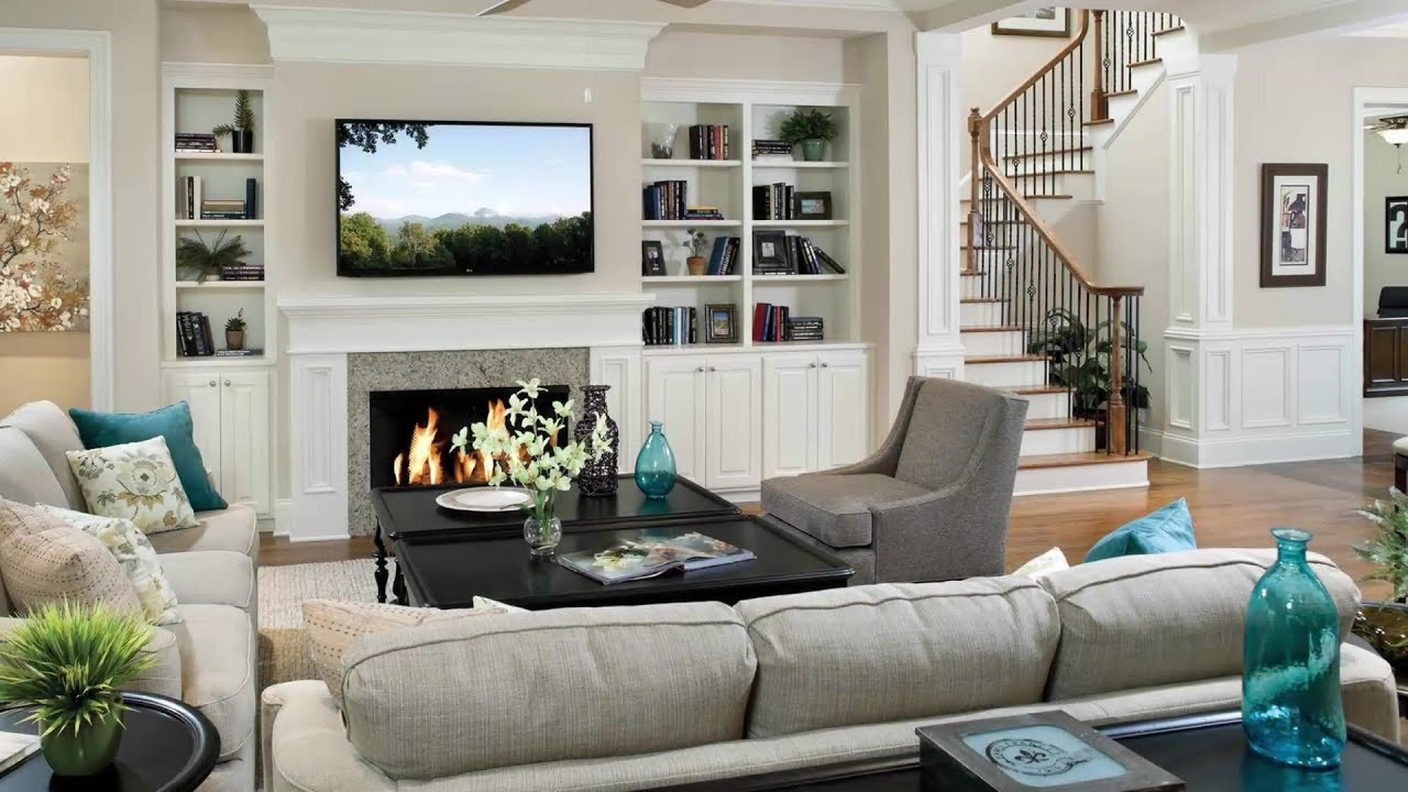 Fireplace Designs Ideas Under the TV Living Room Interior TV Unit and  Fireplace Together