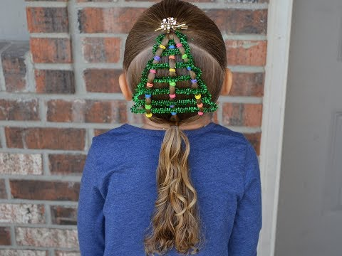 easy hairstyles/girs hairstyles/cute hairstyle/christmas hairstyles/pipe cleaner xmas tree