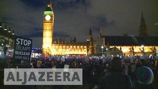 Protests in London as MPs debate Trump's UK visit
