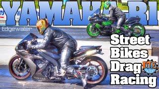 Yamaha R1 vs Zx14 street bikes drag racing Edgewater 2016
