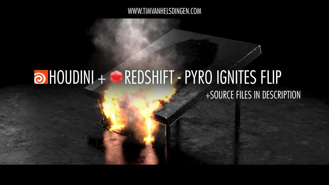 Houdini + Redshift - Pyro Ignites FLIP