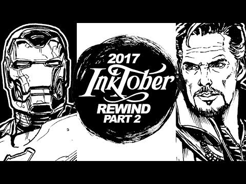 DRAWING DOCTOR STRANGE! WONDER WOMAN! AVENGERS! INKTOBER 2017 REWIND PART 2of2!