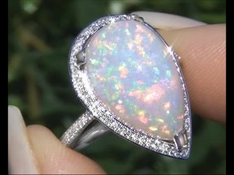 World S Most Outstanding Certified Full Play Of Color Ethiopian Opal Diamond Estate 18k Gold Ring