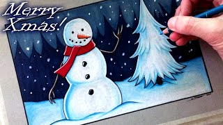 Drawing a Snowman - Merry Christmas! - Time Lapse