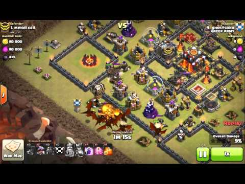 """Clash of Clans """"GREEK ARMY"""" TH9 Most Heroic Attack  2** LAVA DRAGON"""