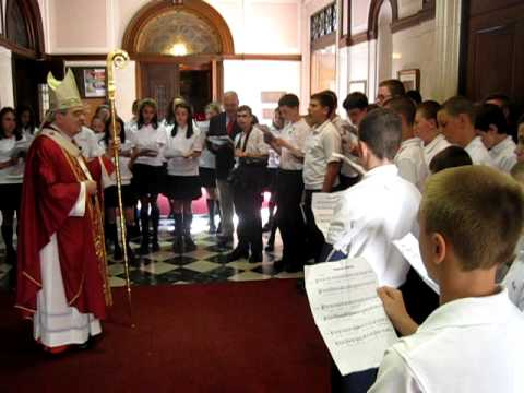 Students from Our Lady of Good Counsel School in Southampton sing Domine Salvum Fac