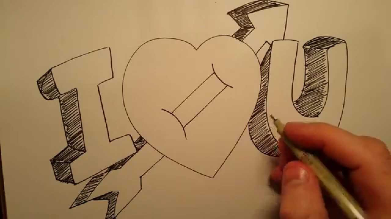 How to draw i love you with heart basic drawing skills series youtube