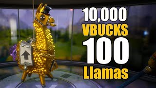 10,000 VBucks for 100 Llamas! | Mythic Loot | Fortnite Opening Part 1