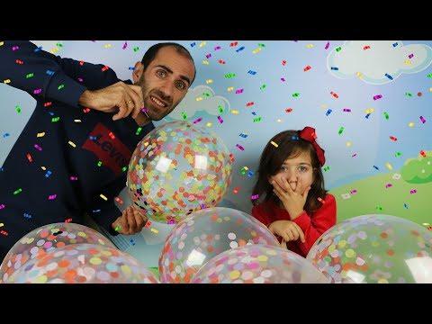 ემილია და მამიკო თამაშობენ ბუშტებით 🎈 ვბერავთ და ვხეთქავთ ბუშტებს