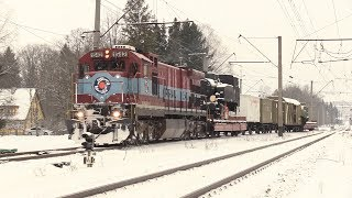 Тепловоз Ц36-7и-1542 с историческим бронепоездом / GE C36-7i-1542 with historical armour train