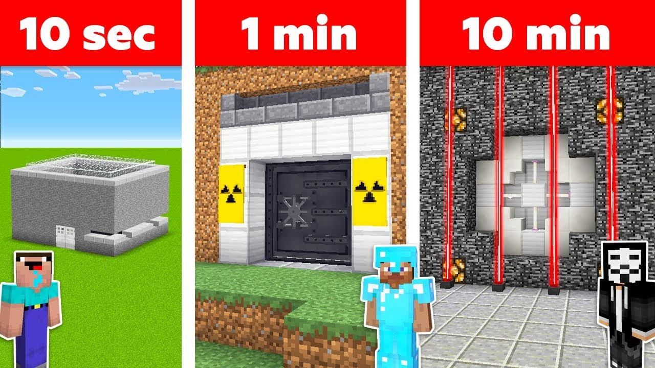 Minecraft SECURE BUNKER in 10 MIN, 1 MIN, 10 SECONDS CHALLENGE in Minecraft thumbnail