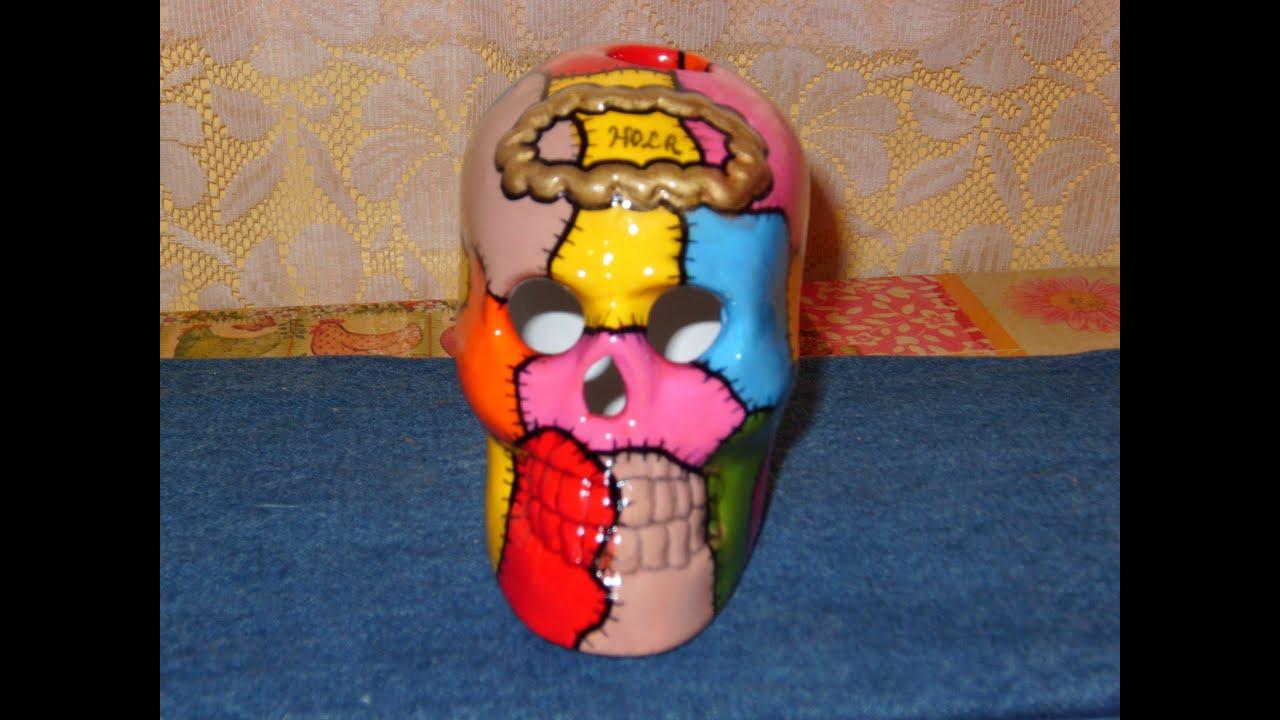DIY Cómo pintar en cerámica una calavera/cráneo de halloween - YouTube