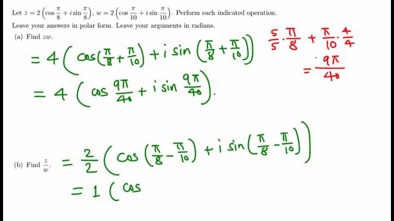 Trig: Product and Quotient of complex numbers in polar form - YouTube
