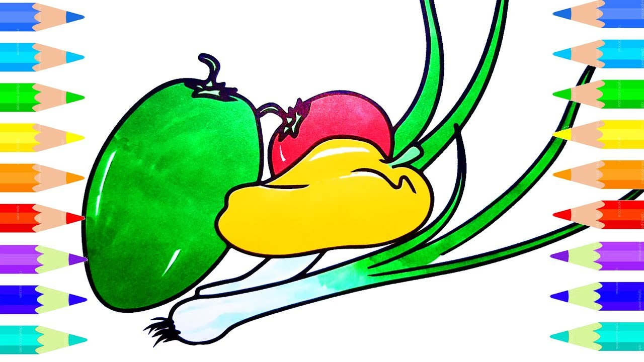 learn how to color fruits and vegetables for baby drawing
